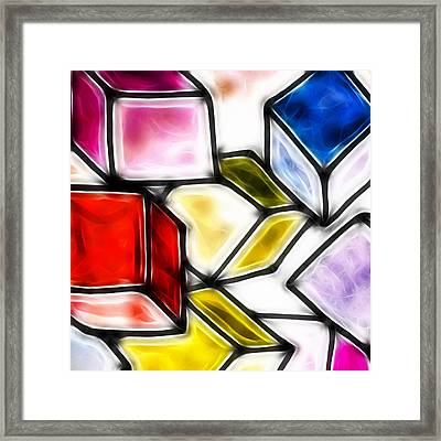 Fractalius Cubes Framed Print by Sharon Lisa Clarke