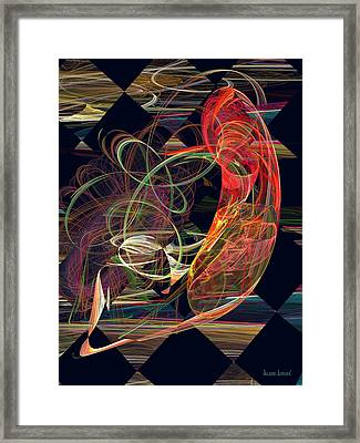 Fractals - Koi In Swirling Water Framed Print by Susan Savad