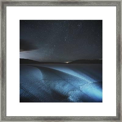 Fracture In Winter Lake Framed Print by Shaunl