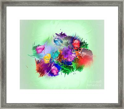 Fractured Bouquet 7 Framed Print