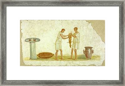 Fragment Of A Fresco Panel With A Meal Preparation Unknown Framed Print by Litz Collection