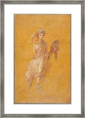 Fragment Of A Yellow Fresco Panel With Muse Unknown Italy Framed Print by Litz Collection