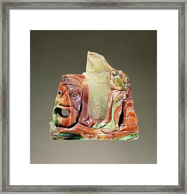 Fragmentary Cameo Sculpture With A Theatrical Mask Framed Print by Litz Collection