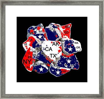 Fragmented States Of The Union Framed Print by Bruce Iorio