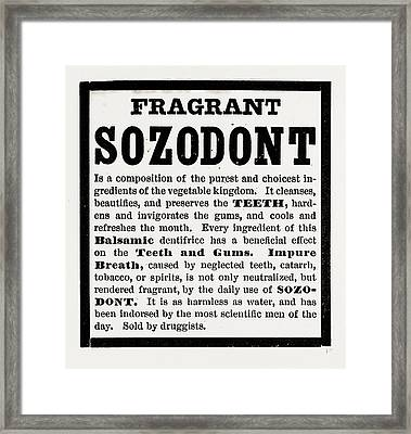 Fragrant Sozodont Framed Print by Litz Collection