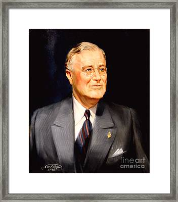 Frainklin Delano Roosevelt Framed Print by Art By Tolpo Collection