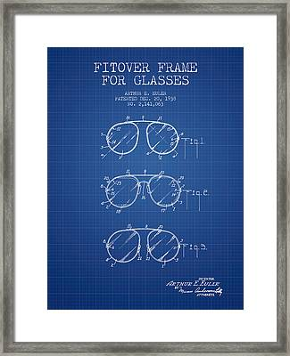 Frame For Glasses Patent From 1938 - Blueprint Framed Print by Aged Pixel