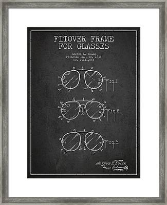Frame For Glasses Patent From 1938 - Dark Framed Print by Aged Pixel