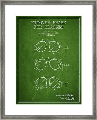 Frame For Glasses Patent From 1938 - Green Framed Print by Aged Pixel
