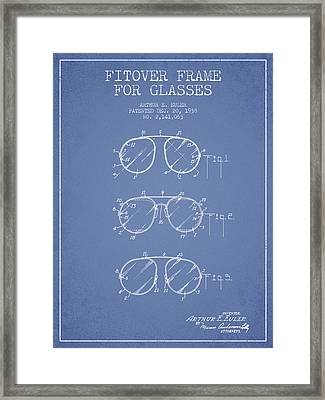 Frame For Glasses Patent From 1938 - Light Blue Framed Print by Aged Pixel