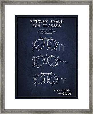 Frame For Glasses Patent From 1938 - Navy Blue Framed Print by Aged Pixel