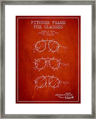 Frame For Glasses Patent From 1938 - Red Framed Print by Aged Pixel