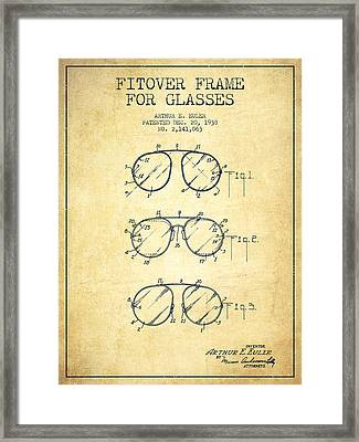 Frame For Glasses Patent From 1938 - Vintage Framed Print by Aged Pixel