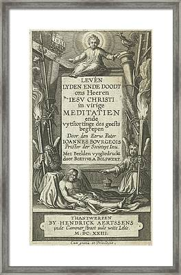 Frame For Title With Christ Child And Christ Dead And Two Framed Print by Bo?tius Adamsz. Bolswert