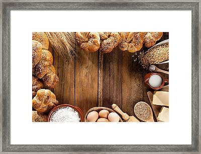 Frame Of Ingredients For Bread Framed Print by Fcafotodigital