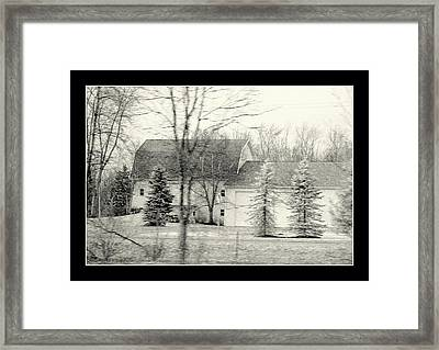 Framed Black And White Farm Barn  And Out Buildings Framed Print by Rosemarie E Seppala