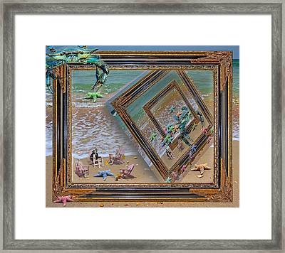 Framed Sea Stars Blue Crabs Skeletons Ocean Waves Framed Print
