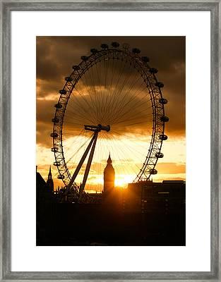 Framing The Sunset In London - The London Eye And Big Ben  Framed Print by Georgia Mizuleva