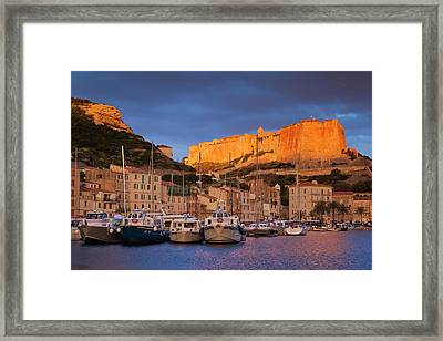 France, Corsica, Bonifacio, Port Framed Print