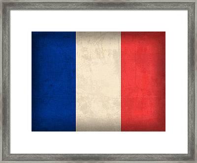 France Flag Distressed Vintage Finish Framed Print by Design Turnpike