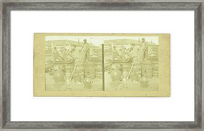 France, Men With Drums And Carboys, Anonymous Framed Print by Artokoloro