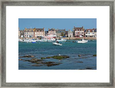 France, Normandy, Barfleur, Town Harbor Framed Print by Walter Bibikow