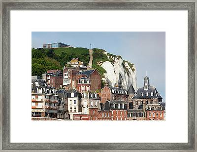 France, Normandy, Le Treport, Town View Framed Print by Walter Bibikow