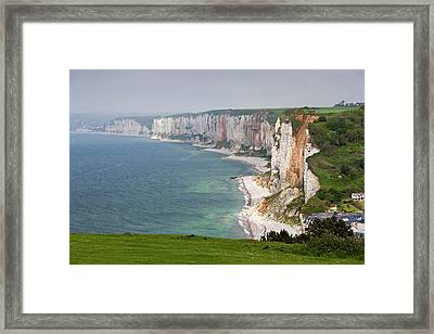 France, Normandy, Yport, Town Framed Print by Walter Bibikow