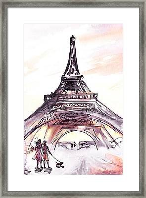 France Sketches Walking To The Eiffel Tower Framed Print by Irina Sztukowski