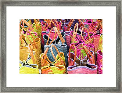 France, St Remy Baskets For Sale Framed Print by Emily Wilson