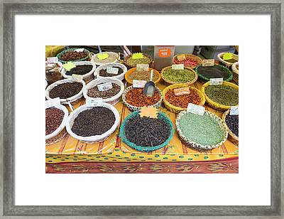 France, St Remy Spices For Sale Framed Print by Emily Wilson