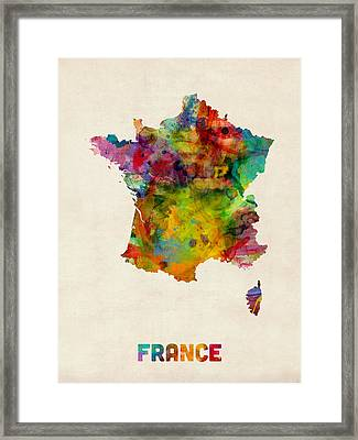 France Watercolor Map Framed Print by Michael Tompsett