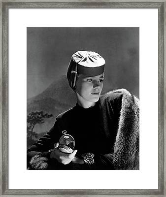 Frances Farmer Wearing An Agnes Hat Framed Print by Horst P. Horst