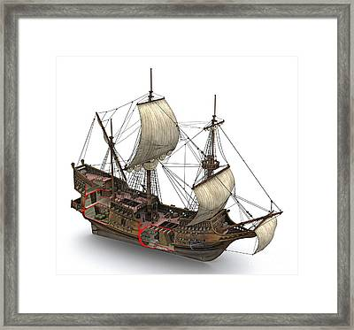 Francis Drake's Golden Hind, 16th Century Framed Print by Jose Antonio Pe??as