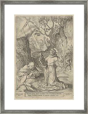 Francis Of Assisi Receiving The Stigmata Of Christ Framed Print