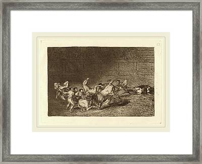 Francisco De Goya, Dos Grupos De Picadores Arrollados  De Framed Print by Litz Collection