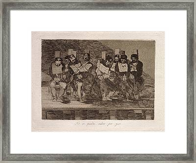 Francisco De Goya, No Se Puede Saber Por Que One Cant Tell Framed Print by Litz Collection