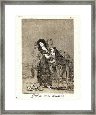 Francisco De Goya Spanish, 1746-1828. Quien Mas Rendido Framed Print by Litz Collection