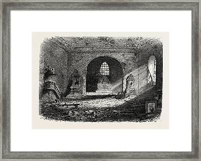 Franco-prussian War Damage In The Church Of Perouse Framed Print by French School