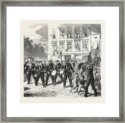 Franco-prussian War Departure Of Berlin Of The Regiment Framed Print