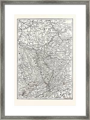 Franco-prussian War Map Of Alsace And Lorraine Framed Print by French School