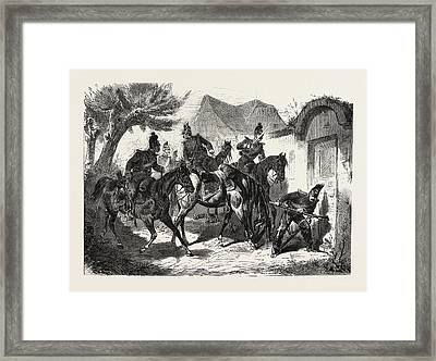 Franco-prussian War Patrol Of Bavarian Light Cavalry 1870 Framed Print