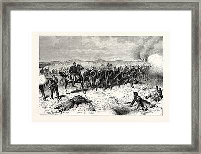 Franco-prussian War Prussian Guard At The Battle Of Sedan Framed Print by French School