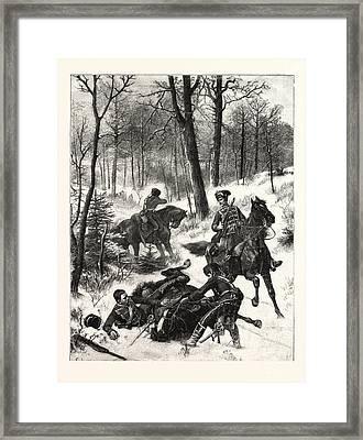 Franco-prussian War Raid On A Hussar Patrol Near Maimenon Framed Print