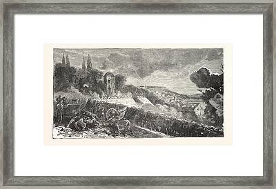 Franco-prussian War Scene From The Defense Of The Park Framed Print