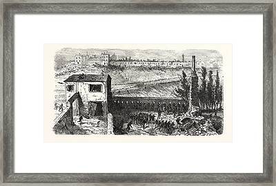 Franco-prussian War View Of The Soap Factory In Le Bourget Framed Print by French School