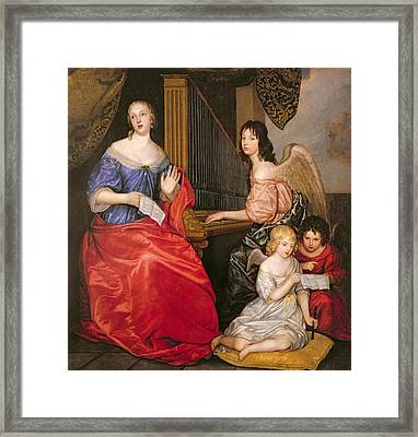 Francoise Louise 1644-1710 Duchess Of La Valliere With Her Children As Angels Oil On Canvas Framed Print by Sir Peter Lely