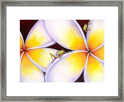 Frangipani Frogs Framed Print