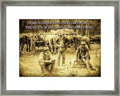 Frank Needs Convincing At Christmas Framed Print