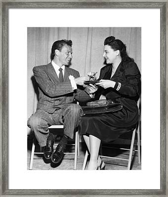 Frank Sinatra Signs For Fan Framed Print by Underwood Archives